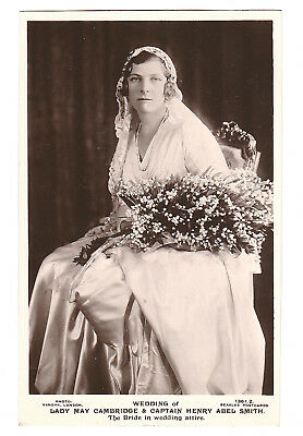 Rare Royalty postcard. Wedding Lady May Cambridge and Captain Henry Abel