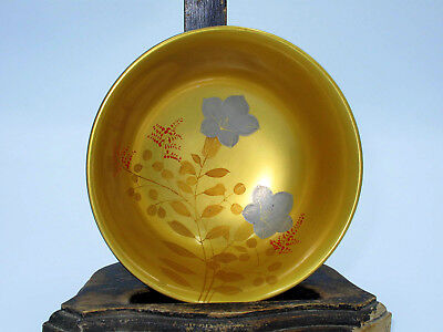 Japanese Showa period Exquisitely hand painted lacquer wooden bowl