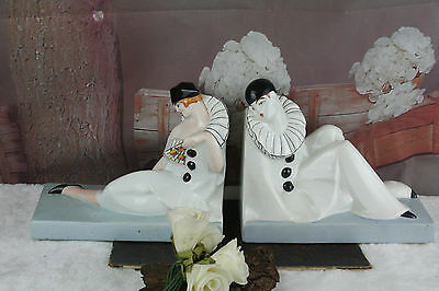 pair of French Orchies porcelain Pierrot and Pierette bookends marked