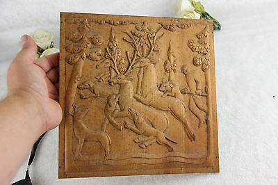 Vintage French wood carved hunting dogs deer wall plaque 1960's