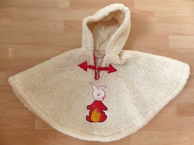 RETRO VINTAGE BABY/TODDLER WINTER PONCHO/COAT size 18 with Rabbit applique