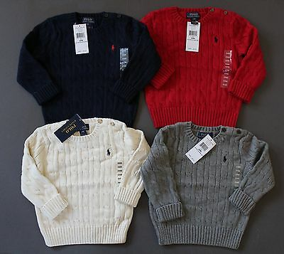 Ralph Lauren Polo Cable Knit Sweater Jumper Baby Sizes 12M 24M NWT Genuine
