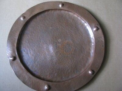 """Vintage Hammered 12"""" Round Copper Tray In The Roycroft Arts & Crafts Style/as Is"""