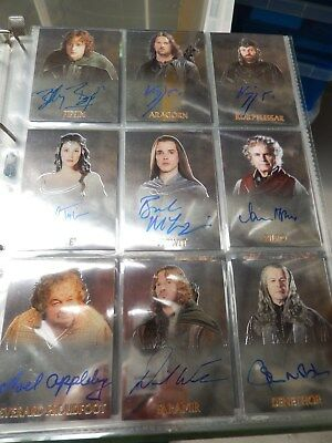 The Lord of The Rings Trilogy Signed Topps  Chrome Autograph Cards Set of 14