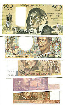 France  ,banque De France ,500 ,200,100,20,10  Francs See Scan Images