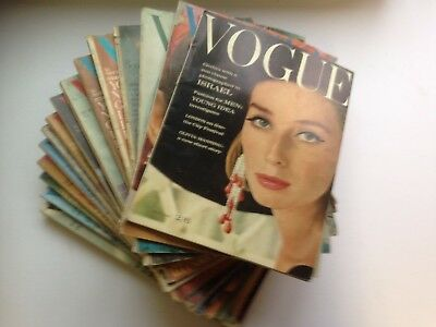 Vogue Magazine 15 Random  Copies From 1962 To 1975 In Readable Clean Condition