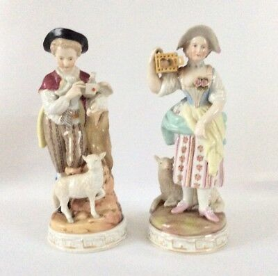 Continental German Porcelain Figure Figurine Shepherd Pair Sitzendorf 19c