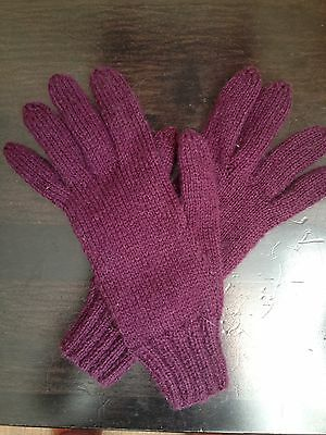 New Bordo Violet Mohair Handmade Knitted Woman Mittens Gloves Warm Wool Size M