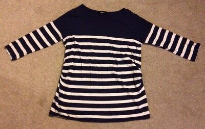 Size 14 Maternity New Look Navy Blue And Cream Striped 3/4 Length Sleeves Top