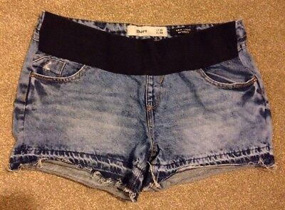 Size 10 Maternity New Look Under The Bump Distressed Blue Denim Shorts