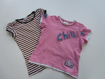 Girls 2 NEXT & H&M Short Sleeve T Shirts Pink and Brown Stripes age 8-10 yrs