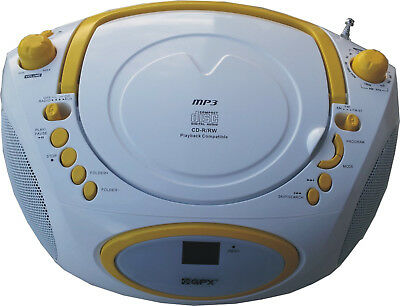 PORTABLER CD MP3 PLAYER TRAGBARER RADIO KINDER HIFI AUX STEREO Weiß / Gelb
