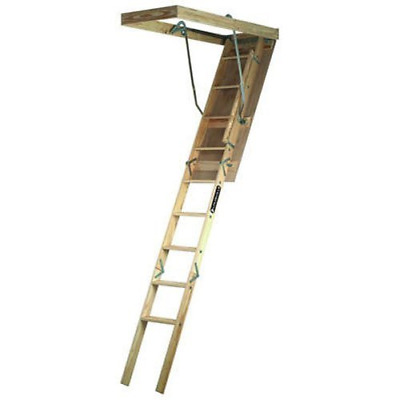 """Louisville Ladder 250-Pound Rating Wooden Attic Ladder Fits 7' to 8'- 9"""" Ceiling"""