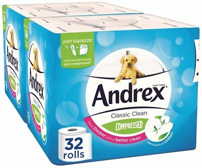 Andrex Classic Clean Compressed Toilet Tissue, Pack of 32 NEW