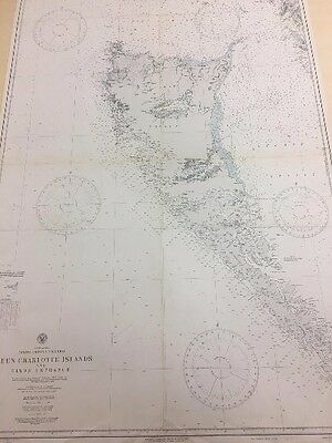 Vintage Hydrographic Map, Nautical Chart of the Queen Charlotte Islands (Haida G