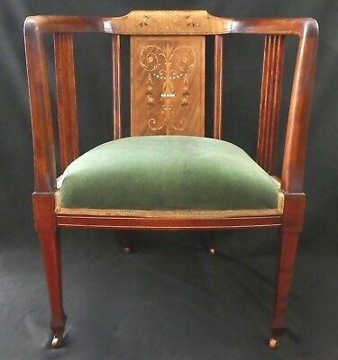 Antique EMPIRE STYLE ARM CHAIR. Mother-of-Pearl + Wood Inlays. Casters.1899-1900