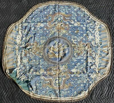 Fine Antique Chinese Silk Embroidered Imperial Court Blue Dragon Tapestry