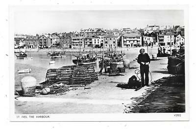 Superb Real Photographic Postcard Of The Harbour St.ives Cornwall