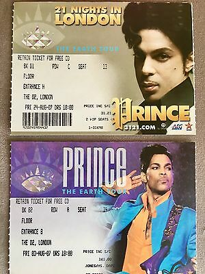 PRINCE Concert Ticket Stubs LONDON UK August 2007 02 Arena THE EARTH TOUR *Rare