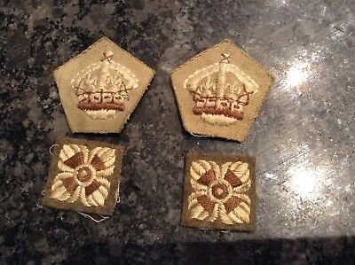 Original WW2 British Army Infantry Officer's Cloth Rank Pips & Kings Crowns