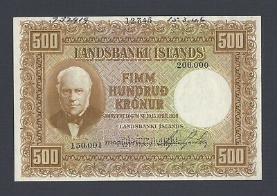 Iceland Landsbanki Islands 500 kronur L.1928 first Issue P36a Specimen AUNC-UNC