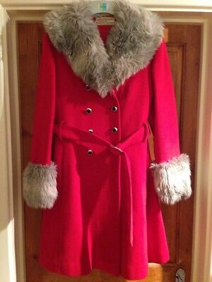 Original Vintage Red  60s 70s Winter Coat Faux Fur Trim Double Breasted Wool
