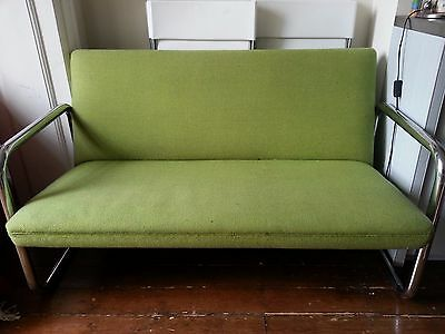 Stunning 1970s vintage green 2-seater sofa with rolled chrome arms