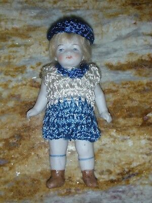 "NR Antique All Bisque Dollhouse Doll Jointed with Wig 4.5"" inch Boy German Small"