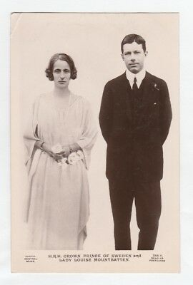 Rare Royalty Postcard. Crown prince of Sweden and Lady Louise Mountbatten 1923