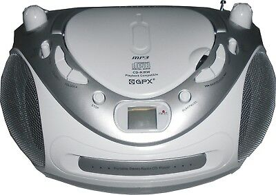 PORTABLER CD MP3 PLAYER TRAGBARER RADIO KINDER HIFI AUX STEREO Silber / Weiß