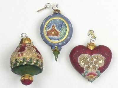 G. DeBrekht Hand Painted CHRISTMAS ORNAMENTS Blue RED HEART