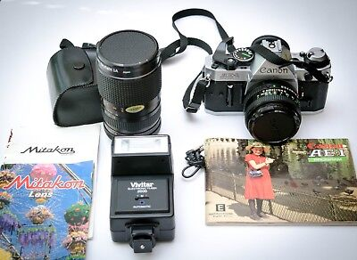 Canon AE-1 Program Film SLR Camera with 50MM 1.8 lens and 28-80MM lens and bag