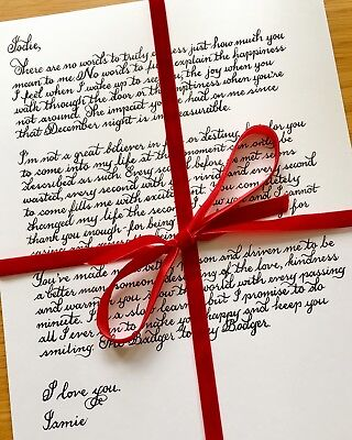 Special Calligraphy Handwritten Poem, Love Letter or Gift
