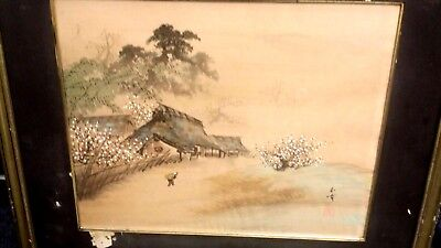 "Vintage Japanese Village Scene Painting On Silk Signed 13"" X 16"" Frame 20"" X 24"""