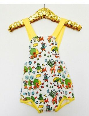 Vintage Baby 70s NOS Little Bird Style Cotton Animal Yellow Romper 12 Or 18 M