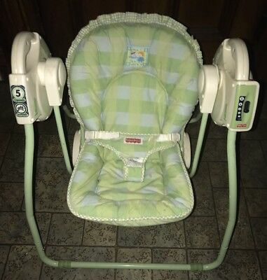 Fisher Price Green/White Open Top 5 Speed Take Along Baby Swing Jack and Jill
