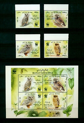 Persien Tiere WWF Vögel Eulen 2011 Satz + Block ** Animals Birds Set + S/S MNH