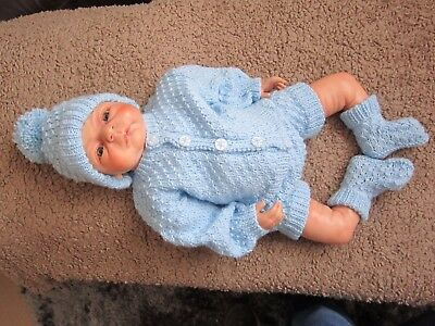 "Hand Knitted Blue Set To Fit A 22"" Reborn/baby Doll"