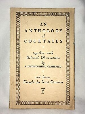 Rare An Anthology of Cocktails 1st Ed. 1945 Vintage Book Booths London History