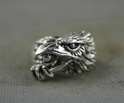 China Collection Handwork Decor Old Miao Silver Carve Eagle Bite Bead Lucky Ring