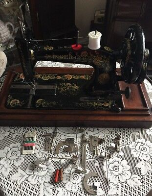 Vintage SINGER Rare 48k sewing machine With Case & Accessories 1904