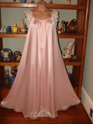 """Ladies/Womens Vintage Lucie Ann Long Nightgown - Bust to 42"""" - Pink - Sweep 125"""""""