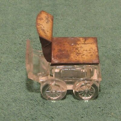 Vintage glass wagon candy container as is