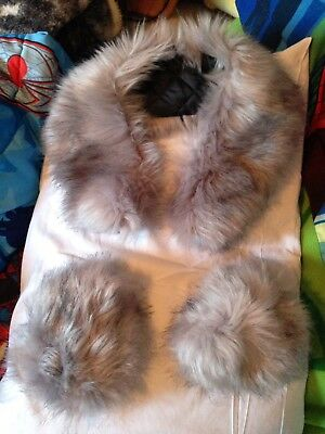 Grey Fluffy Faux Fur Scarf And Cuffs Winter Accessories Cosplay Costume Set
