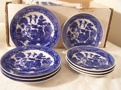 8 pc Vintage Blue Willow Child's Toy Porcelain Dishes Plates Saucer  Japan
