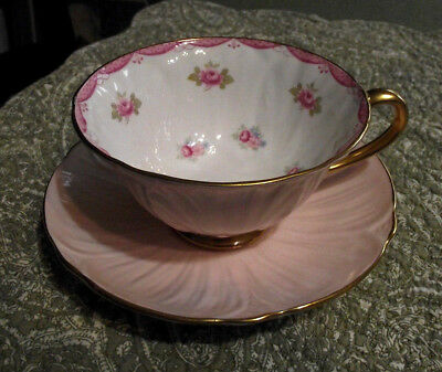 SHELLEY Bone China OLEANDER Footed Tea Cup & Saucer Pink Roses Dotted & Footed