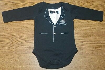 Tuxedo Infant Baby Formal Black Tux One Piece Tshirt Boys Size 0 - 3 Months Nice