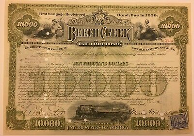 1909 $10,000 Railroad Bond Issued Multiple Vanderbilts Rare Secured Debt Stamp