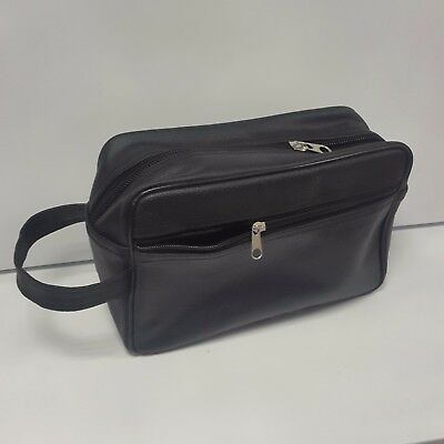 Men's Classic Real Leather Wash Bag Shaving Cosmetic Toiletry Travel Unisex