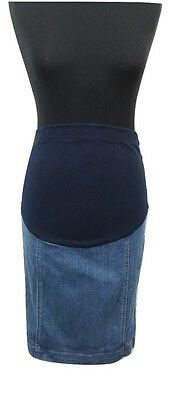 MOTHERCARE Maternity Skirt Size 8 Blue Denim L23in Summer Holiday Over the Bump
